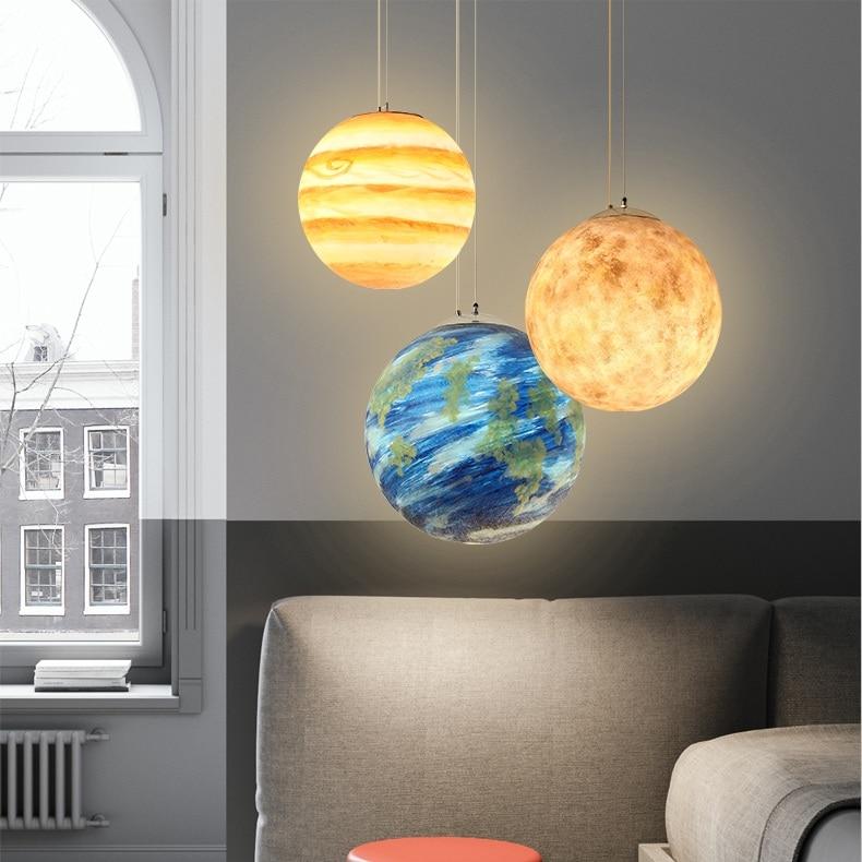 Image 4 - Nordic Creative Universe Planet Acrylic Pendant Light Moon Sun Earth Mars Uranus Mercury bedroom children room hunging lampPendant Lights   -