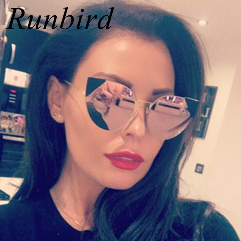 RunBird Women Cat Eye Sunglasses Brand Designer Retro Pierced Female Cute Sun Glasses Coating Relief Glasses Classic Shades 704R
