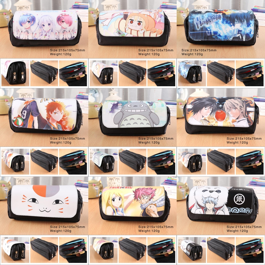 Anime Cartoon Student Pencil Case Canvas Pen Bag Makeup Bag Totoro Pokemon One Piece Naruto SAO Zip Cosmetic Bag Stationery Bag