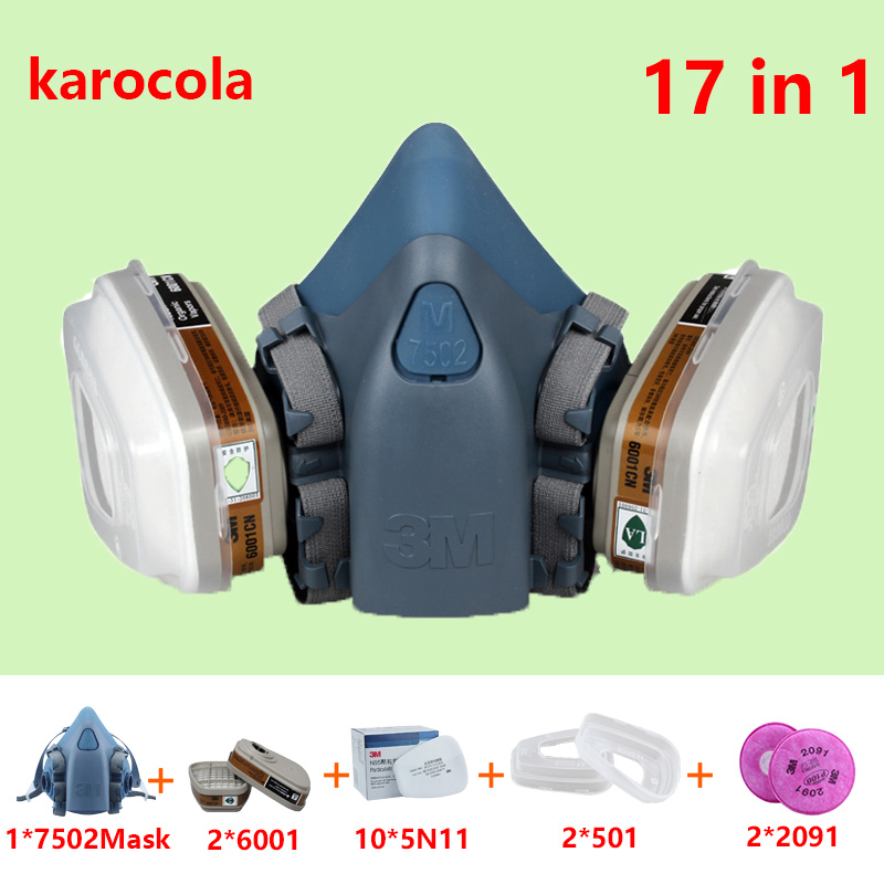 17in1 7502 Anti Dust Gas Mask Respirator Silicone Anti-dust Organic Vapor Benzene PM2.5 Multi-purpose Protection dust mask