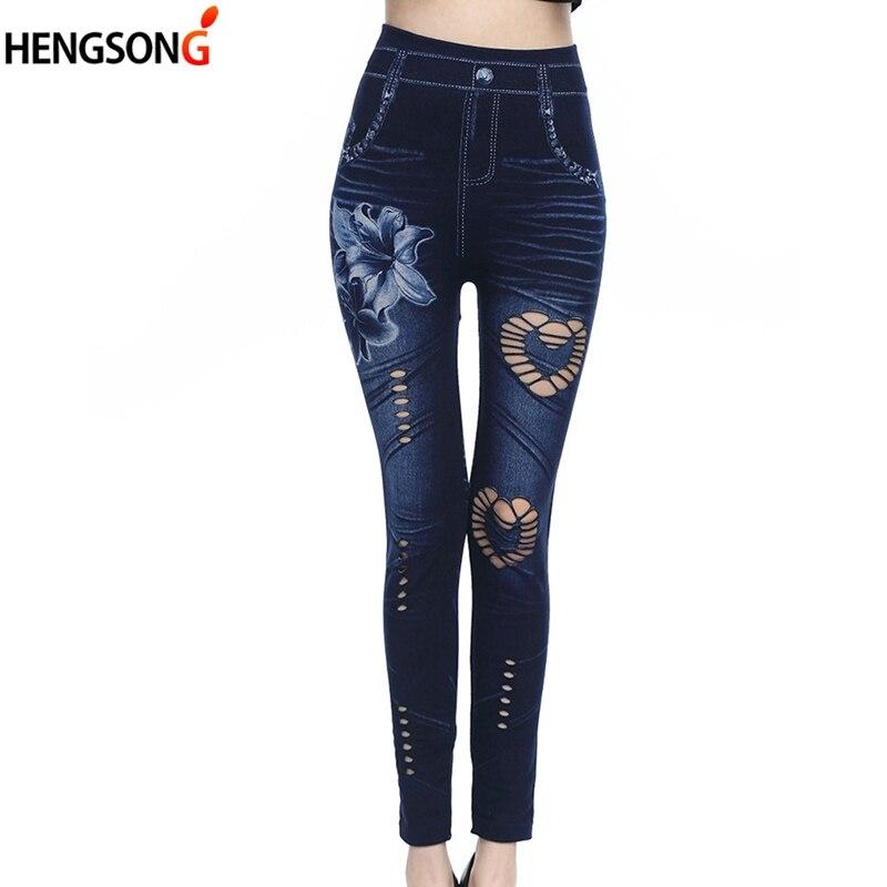 Women High Waist Leggings Female Sexy Hole Heart Printing Leggings Legins Ankle-length Pencil Pants Faux Denim Jeans