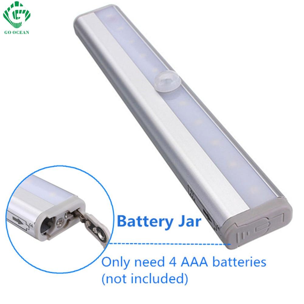 LED Night Light IR Infrared Motion Sensor 10 LED Under Cabinet Lights Wireless Closet Wall Stair Wardrobe Toilet Emergency Lamps