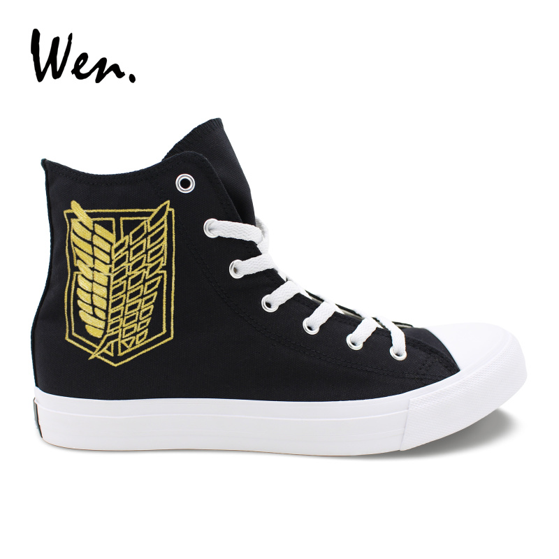 Wen Design Hand Painted Black Shoes Logo Attack on Titan Survey Corps Sneakers Canvas Teens Cosplay Shoes Cross Straps Plimsolls