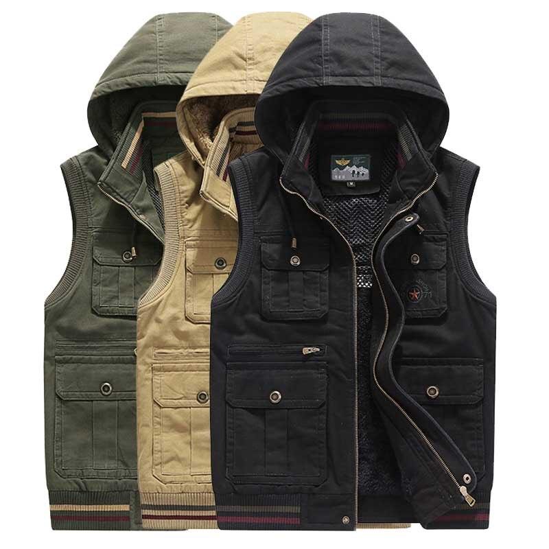Erkek Kıyafeti'ten Jileler ve Yelekler'de Sonbahar Kış Kapüşonlu Moda Yelek Polar Kolsuz Ceket Ceket Erkekler Rahat Yelek Yelek Kalın Sıcak Yelek Çok Büyük Cep Artı Boyutu'da  Grup 1