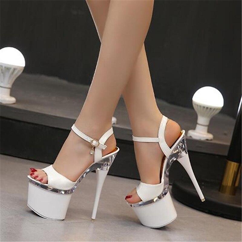 Ultra high heels 18 cm feine sandalen frauen wasserdichte plattform stahlrohr schuhe modell zeigen schuhe nachtclub schuhe größe 34 -43
