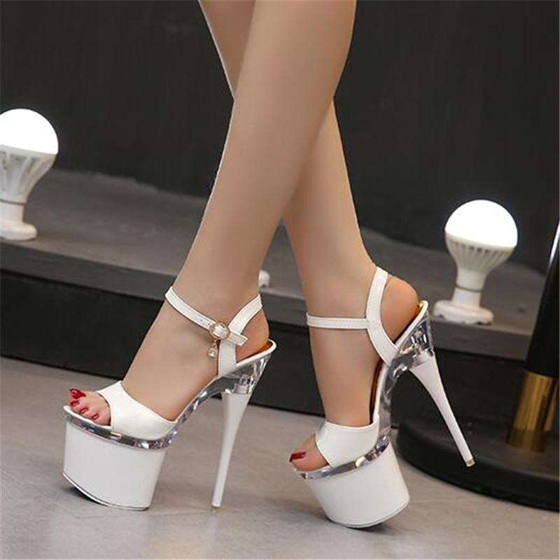 Ultra high heels 18cm fine sandals women waterproof platform steel pipe shoes model show shoes nightclub shoes size 34-43 sexy high heels shoes multicolor nightclub 20cm high with thin catwalk show with waterproof sandals size 35 44