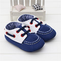 2016 Fashion Leisure Navy Blue Baby Boy Shoes Kids First Walkers Soft Bottom Anti-slip Shoes Infant Toddler Slip-On Crib Loafers