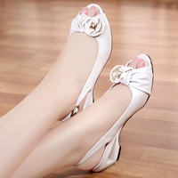 2018 Summer New Style Sandals Female Summer With Wedges Fish Mouth Shoes Large Size Small White Shoes Comfortable Women's Shoes