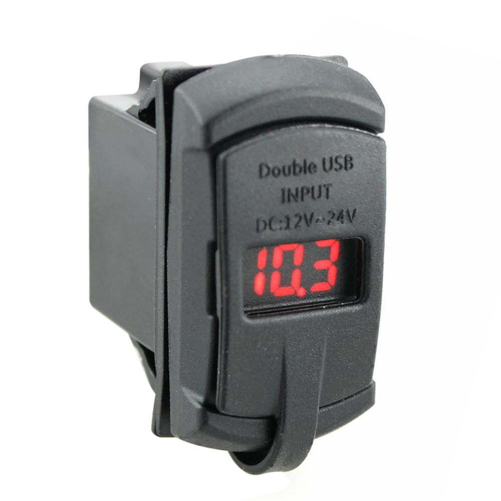 2 In 1 Rocker Switch With Voltmeter Display Blue Led 42a Dual Usb Tachometer 4 Car Charger For Mobile Phones Accessories