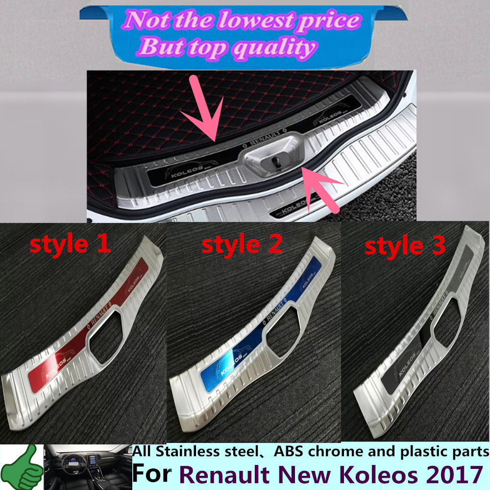 For Renault Koleos 2017 car body styling cover Stainless Steel Inner built Rear Bumper trim plate lamp pedal moulding hoods 1pcs car styling cover detector stainless steel inner built rear bumper protector trim plate pedal 1pcs for su6aru outback 2015