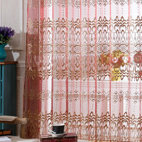 Luxury Red Embroidered Curtains Tulle Window Curtains For Living Room Bedroom Cortinas Jacquard Voile Translucidus 2*2.6m 1Pcs
