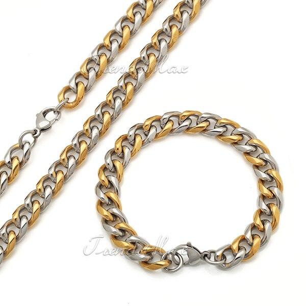 Populair Mode sieraden grote zware heren jongens goud/zilver toon te  &XJ57
