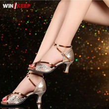 New Arrival Women's Sequins Tango Ballroom Latin Dance Open Toe Shoes Heeled Salsa Professional Dancing Shoes For Women