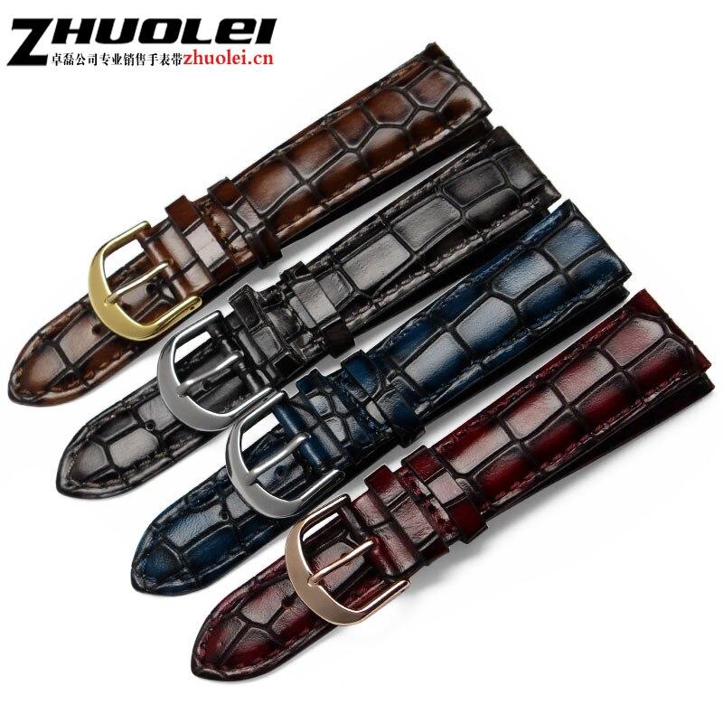 Fashion Genuine leather watchband straps black brown dark blue red 18mm 20mm 22mm watches men bracelet survival nylon bracelet brown