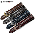 Fashion Genuine leather watchband straps black brown dark blue red 18mm 20mm 22mm  watches men bracelet