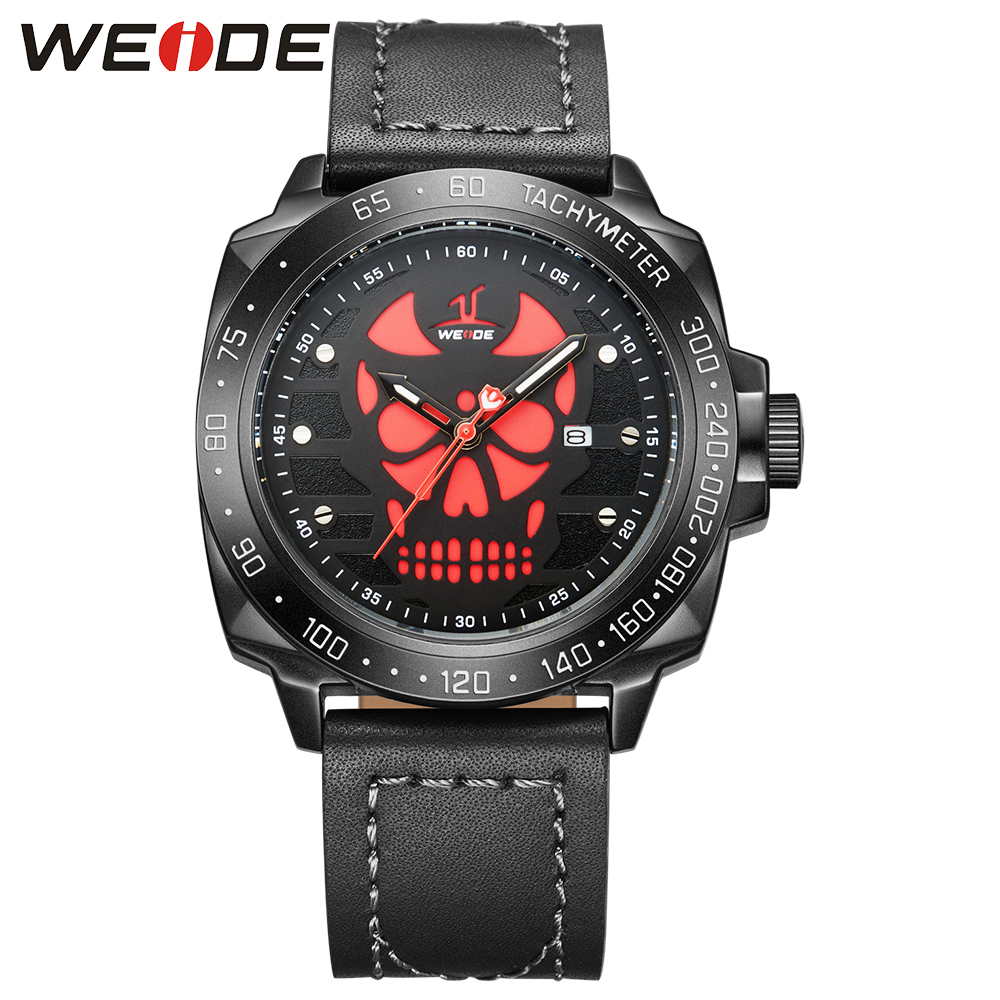 WEIDE Sport Watch Men Genuine Leather Strap Full Steel Black Red Analog Display Climbing Quartz Watches Gift relogio masculino weide original brand watches men sport quartz analog digital display full stainless steel famous logo watch with gift paper box