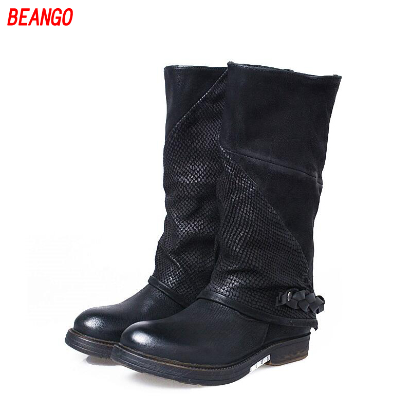 BEANGO 2017 Knee High Genuine Leather Women Shoes Flat Heel Boots Long Motorcycle Boots with Buckles Square Toe Knight Boots