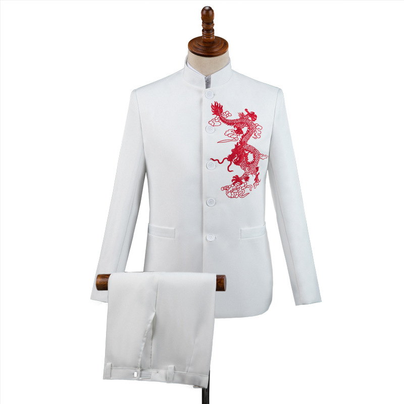 The new 2019 embroidered dragon chorus competition hosted a suit collar suit young male performance(China)