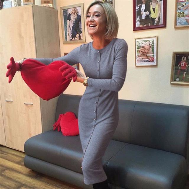 Knitting Autumn Winter Dress 2018 Warm Women Knitted Dress Mid-calf Package Hip Sheath Bodycon Dress Elegant Office Pin Up LX062