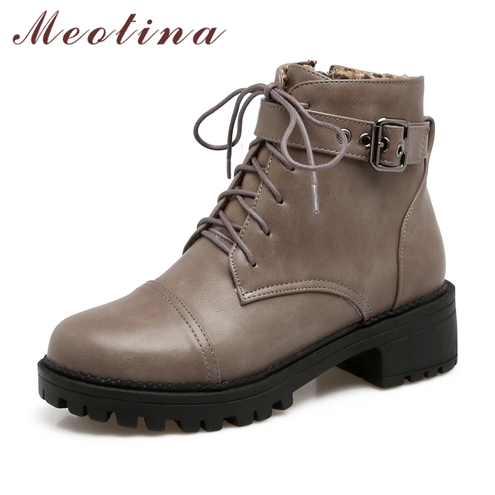 Meotina Women Boots Low Heels Zip Ladies Ankle Boots 2017 Autumn Punk Boots Round Toe Big Size 34-43 Fashion Ladies Casual Shoes цена 2016