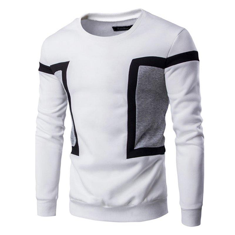 13560ccbf017a Pull Hommes Sweat Printemps Automne À Manches Longues Patchwork Ras Du Cou  Casual T-Shirts Homme Tops