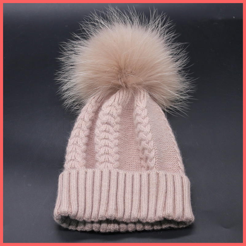 Winter fur pompom hat for women cashmere wool cotton hat Big Real Raccoon fur pompom Beanies cap Fox fur bobble hat real fashion fur pompom hats for women knitted wool hat bonnet fur ball skull beanie cap cashmere big raccoon fur bobble hat
