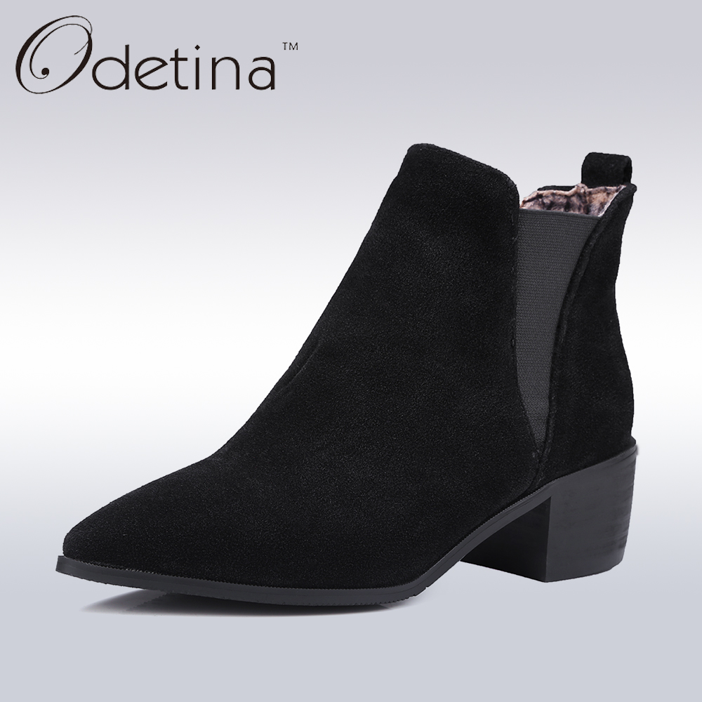 Odetina Handmade Sexy Chelsea Boots Suede Large Size Chunky Heel Ankle Boots Pointed Toe Women 2017 Winter Boots Autumn Shoes Pu nikbea vintage western boots cowboy ankle boots for women pointed toe boots winter 2016 autumn shoes pu chunky low heel booties