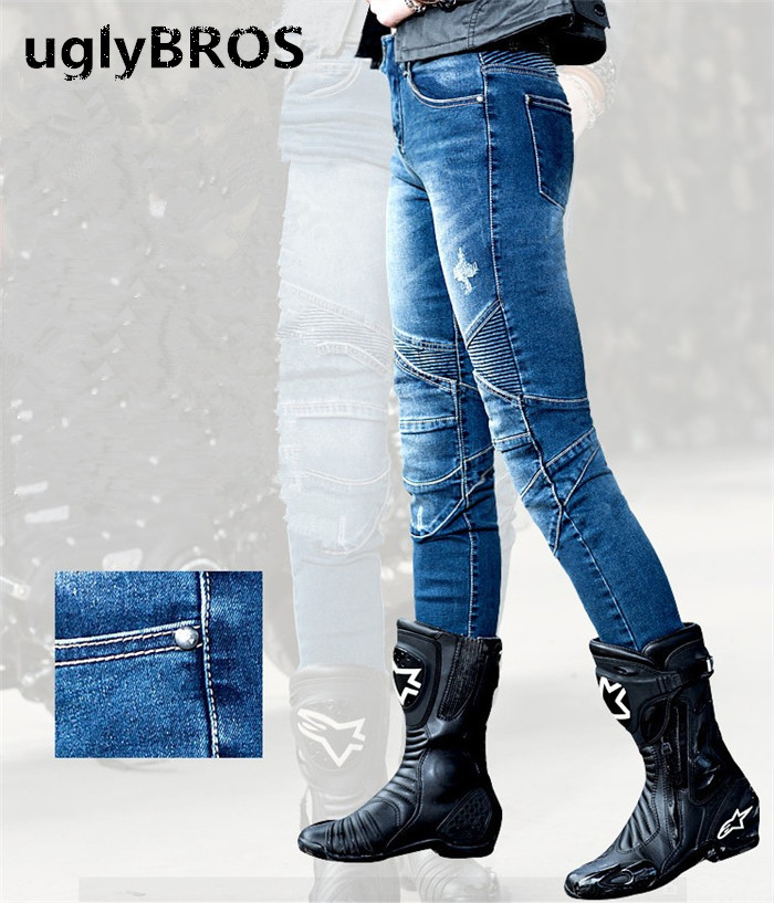 Straight tight blue women's jeans Uglybros Featherbed Women Jeans motorcycle protection pants racing pants road riding pants цена