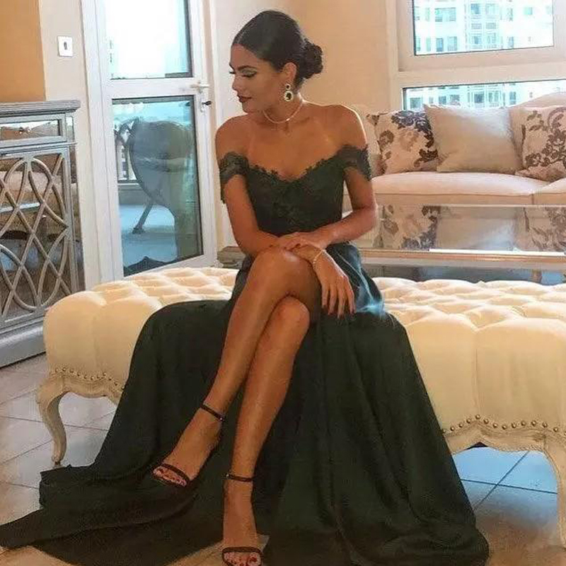 2019 Dark Green Cheap Sexy   Prom     Dresses   Off the Shoulder A Line Floor-Length High Side Split Lace Elegant Long Evening   Dress