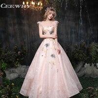 CEEWHY Open Back Lace Evening Dress Sequinated Appliques Prom Dresses Vintage Evening Gowns Robe de Soiree Longue 2018 Kaftan