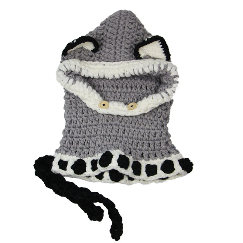 Winter Baby Caps Cute Cat Ear Shaped Kids Beanie Shawl Warm Children Hats Handmade Crochet Knitted  Shawl Hat Sets  LB