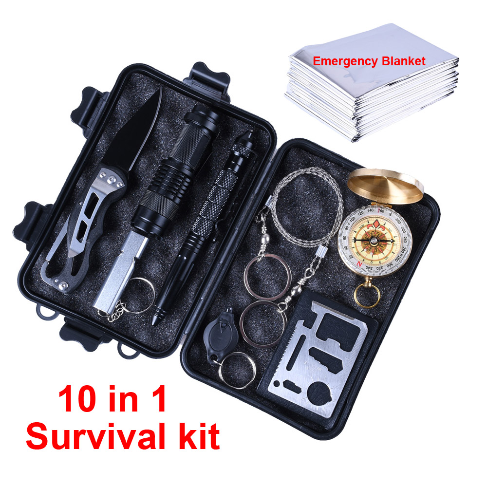 10 In 1 Survival Kit Outdoor Camping Equipment Travel Military Emergency Supplies First Aid Kits Tactical Survival Tools