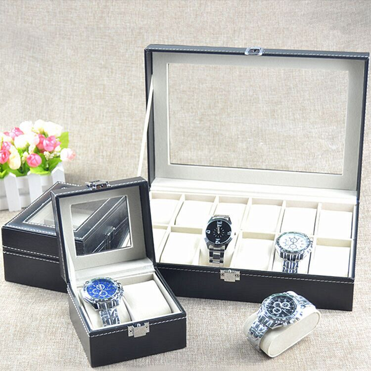 Black Leather Watch Display Box Show Case Jewelry Storage 6/10/12 Grids collection classic leather 3 grids watch case plastic top display box