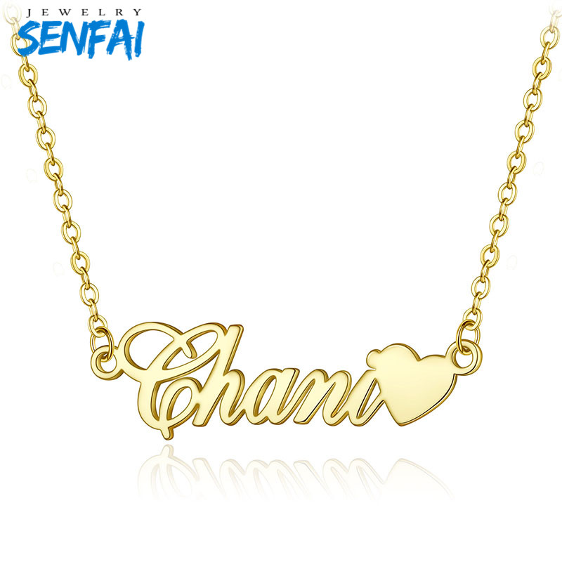 Senfai Customized Name with Heart Pendant Necklace Personalize Cursive Custom Name Choker for Women Best Gift for LoversSenfai Customized Name with Heart Pendant Necklace Personalize Cursive Custom Name Choker for Women Best Gift for Lovers