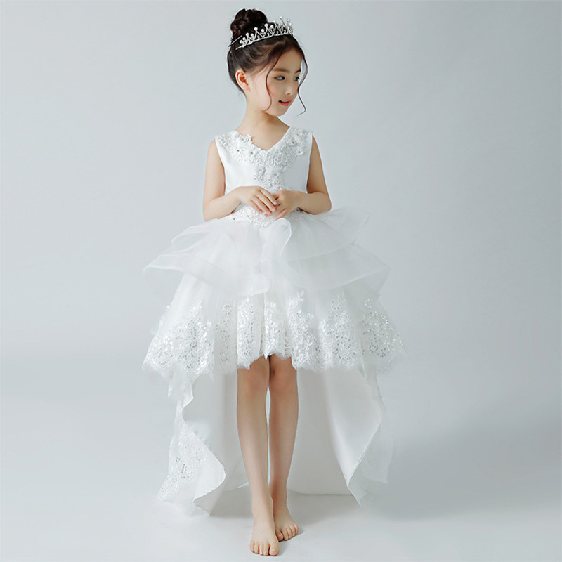 Children Kids White Color Birthday Wedding Party Long Tail Princess Lace Prom Dress Babies Girls Elegant Host Tutu Dress 3~13yrs elegant children girls lace princess birthday wedding party pink dresses kids babies clothing costume piano host tutu mesh dress