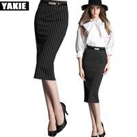 High Waist Pencil Skirt Plus Size Tight Bodycon Fashion Women Midi Skirt Red Black Slit striped Women's Skirt Jupe Femme