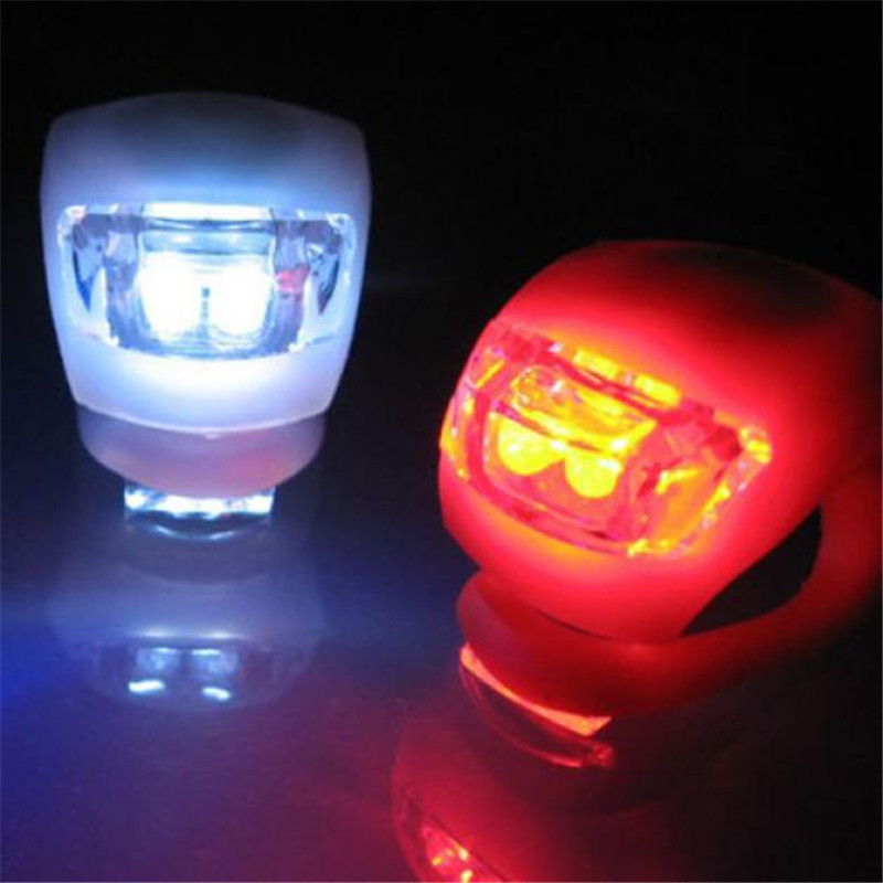 2 X LED Bicycle Bike Cycling Silicone Head Front Rear Wheel Safety Light Lamp Water Resistant Shower Proof Design B2