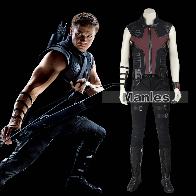 Marvel's The Avengers Hawkeye Cosplay Costume with Boots Clinton Barton Halloween Costume Adult Men Superhero & Sci-fi costumes