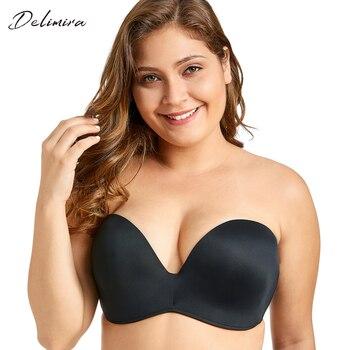 Delimira Women's Slightly Lined Custom Lift Seamless Strapless Bra