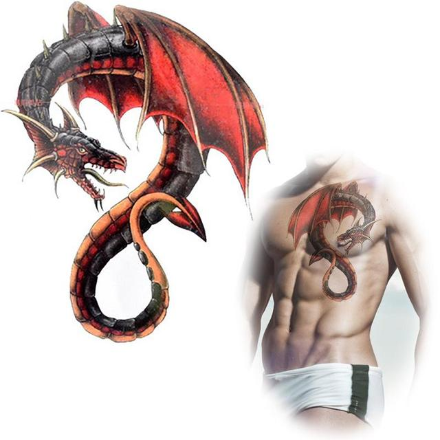 Red dragon wings tattoo waterproof temporary tatto stickers male monster animal totem fakes lugger back tattoo