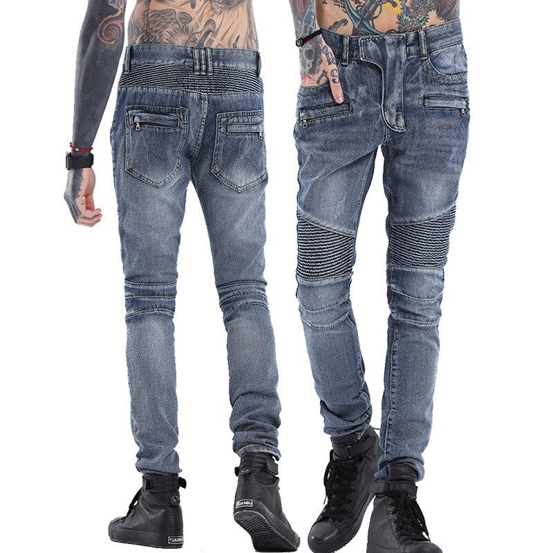 Alta qualità 2017 Nuovo Arrivo CosMaMa mens di marca del progettista coreano moda slim skinny globale denim pelle Punk biker jeans