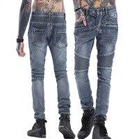 Yüksek kalite 2017 Yeni Geliş CosMaMa marka erkek tasarımcı kore moda ince sıska genel deri denim Punk biker jeans