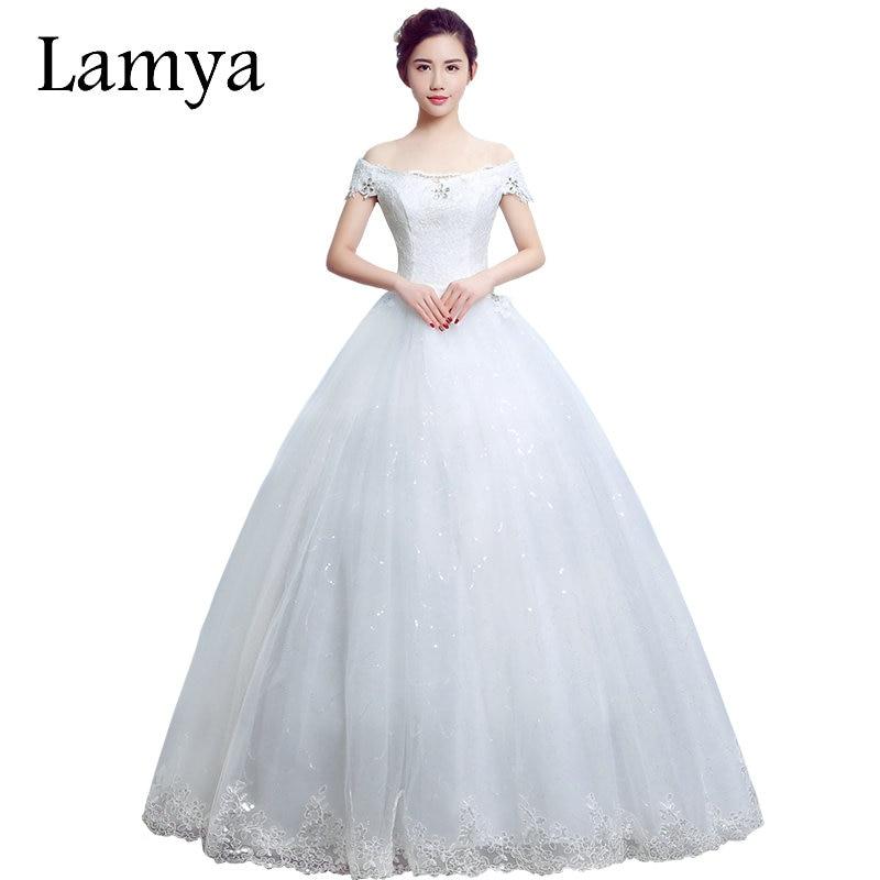 Lamya 2018 Cheap Lace Boat Neck Wedding Dress Princess Plus