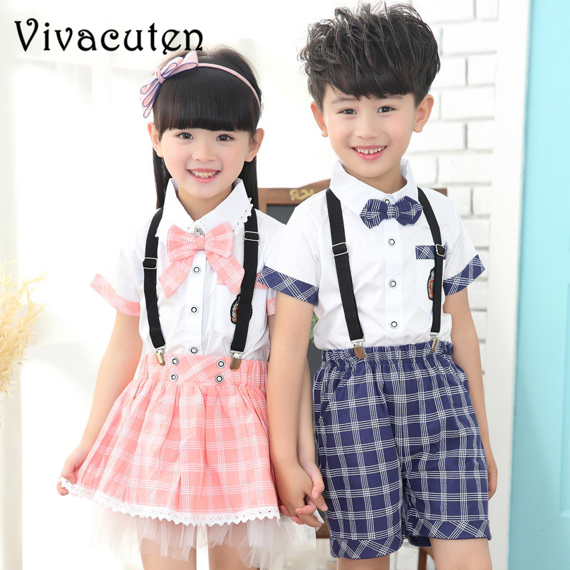Летние комплекты детской одежды для мальчиков и девочек школы производительность наборы для детей единые наборы Милые рубашки на брюки юбк...