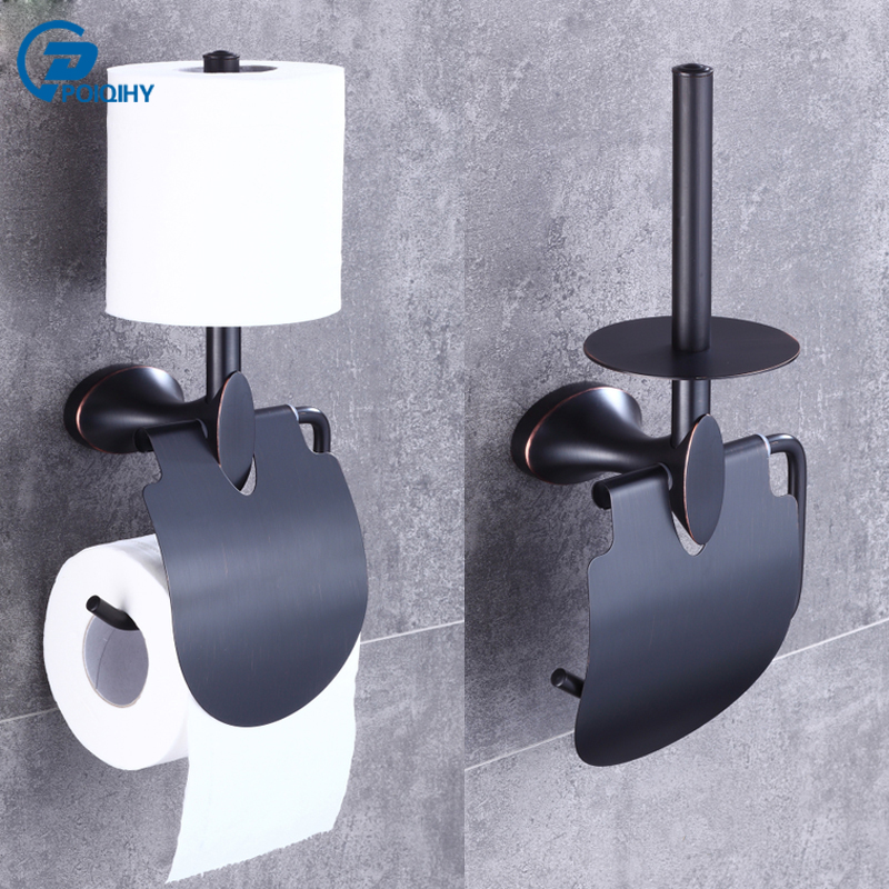 POIQIHY Two Dual Tiers Toilet Paper Holder Wall Mounted Bath Rack Oil Rubbed Bronze ORB Bathroom Paper Holder with Hook