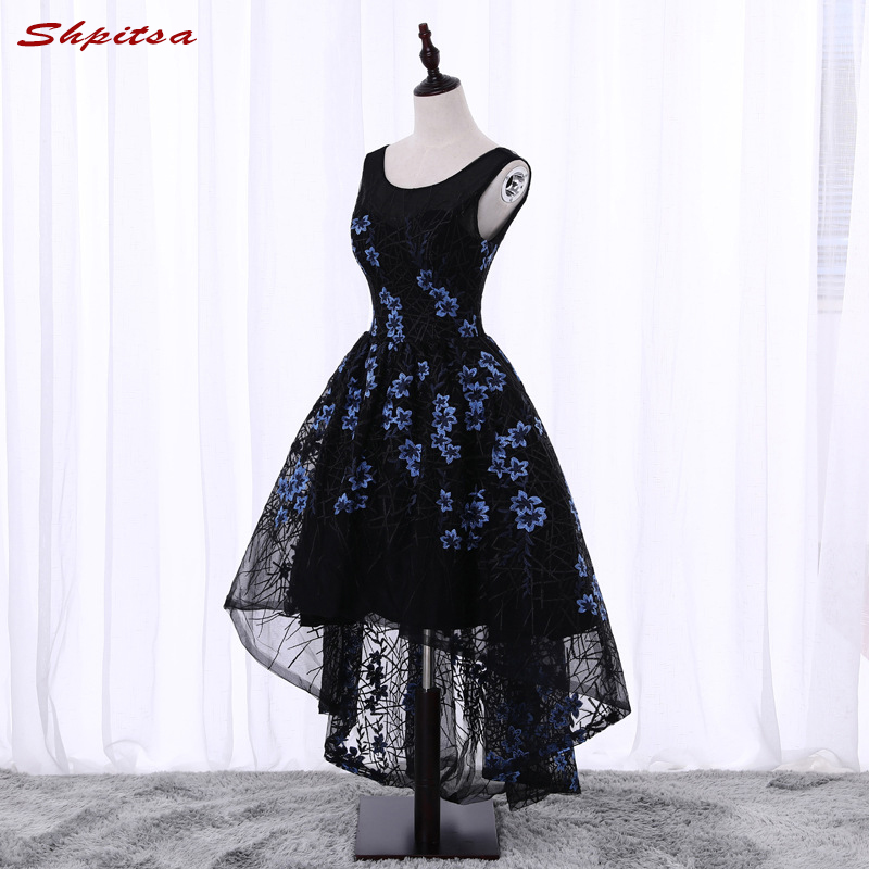 High Low Black Lace   Cocktail     Dresses   Women Graduation Homecoming Prom Party Coctail   Dress   vestido de festa curto coctel