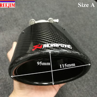 Oval Slanted Akrapovic exhaust tip Carbon Fiber muffler Exhaust tip muffler pipe Tailpipe trims car styling