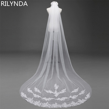 3 Meter Cathedral Wedding Veils Long Lace Edge Bridal Veil with Comb Accessories Bride Mantilla - discount item  12% OFF Wedding Accessories