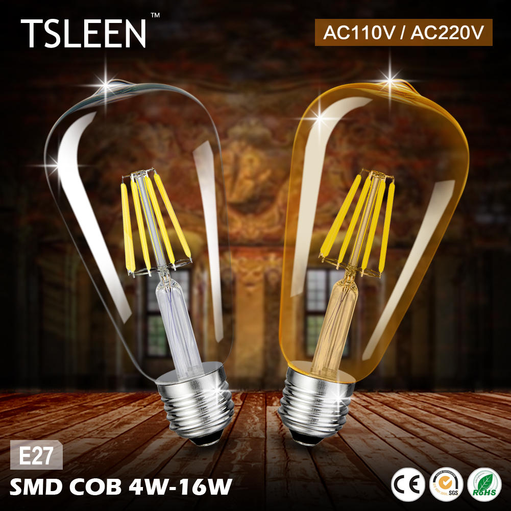 Cheap Led light bulb st64 golden led lamp e27 vintage edison filament bulb power led energy saving lamp for home decor lamparas smart bulb e27 7w led bulb energy saving lamp color changeable smart bulb led lighting for iphone android home bedroom lighitng