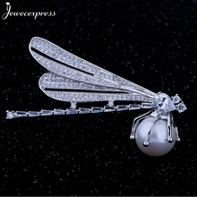 Jewecexpress  Popular pearl dragonflies zircon Brooches Women jewelry Party wedding Christmas gift